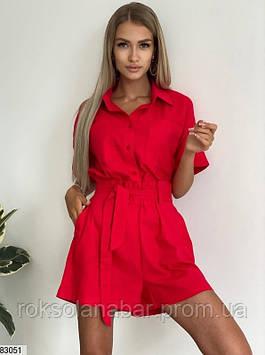 Костюм двойка (рубашка+шорты) из льна красного цвета