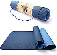 Коврик каремат гимнастический для йоги и фитнесат CF88 Синий-голубой (183x61x0,6 см) (YM 9865-BLLBL)