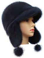 Женская красивая норковая  шапка ушанка цвет ирис