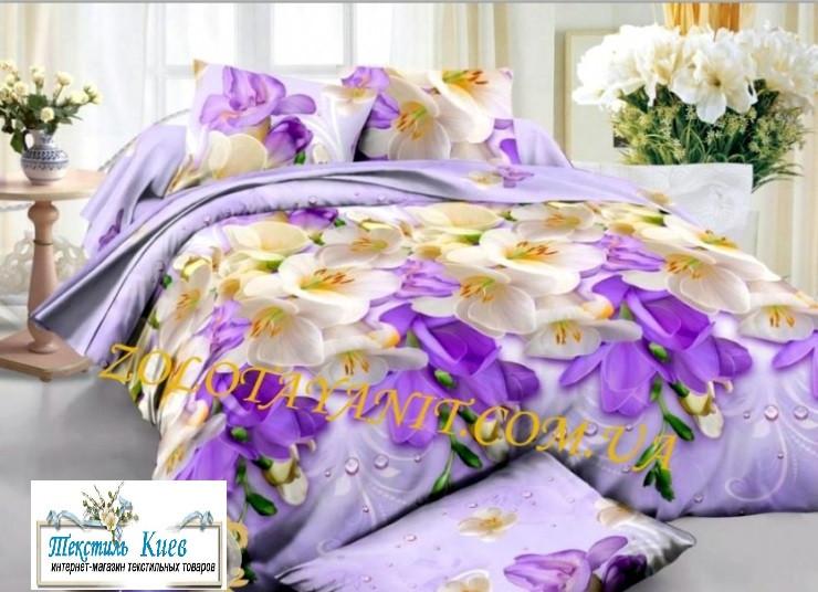 Постельное белье ткань бязь полуторный комплект размер 150х215 см Цветы