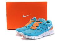 Яркие синие мужские беговые кроссовки Nike Free Run+2 для спорта(модные спортивные новинки весна, лето, осень)