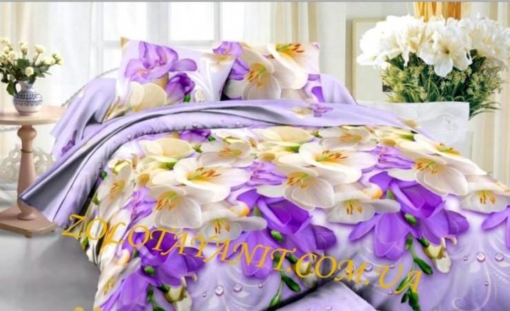Бязь євро комплект постільної білизни розмір 200х215 см малюнок красиві квіти
