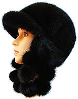 Теплая норковая  шапка ушанка цвет  черный