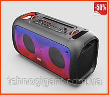 Акумуляторна бездротова колонка Temeisheng TMS-6616 з двома мікрофонами Rgb підсвічування портативна акустика