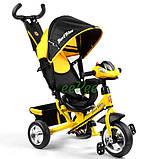 Детский велосипед трехколесный с ручкой фарой Best Trike колеса пена 1-3 года Желтый (58579), фото 2