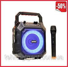 Акумуляторна бездротова колонка Temeisheng A6-7 з мікрофоном Rgb підсвічування портативна акустика