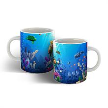 Чашка с фоном Майнкрафт.
