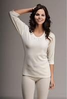 Термобелье женское шерстяное меринос (лонгслив) белое 75% шерсти, размер L/XL