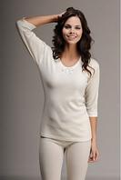 Термобелье женское шерстяное меринос (лонгслив) белое 75% шерсти, размер L/XL, фото 1