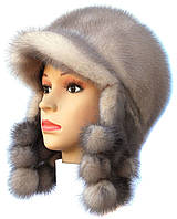Красивая норковая  шапка ушанка цвет колотый лед