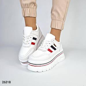 Кроссовки женские белые на платформе экокожа, удобные, повседневные
