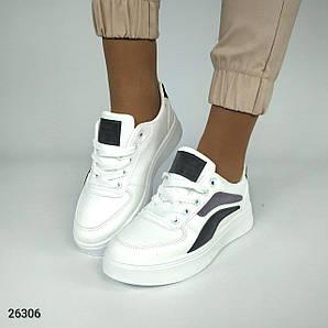 Кроссовки белые экокожа модные стильные