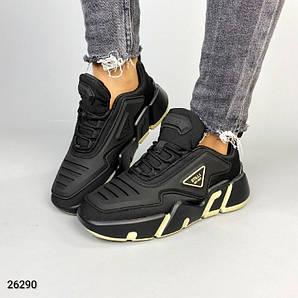 Кроссовки женские черные с силиконовыми вставками необычные модные стильные