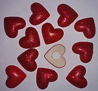 Сердце на липучке с глиттером красное ( 2.2см,12 шт) 13-298