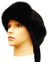 Черная меховая  шапка ушанка  воротник