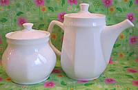Кофейник + Сахарница белые (без нанесения), фото 1
