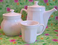 Кофейник + Сахарница + 3 Чашка белые (без нанесения)