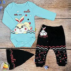 Боді, штанці і шапочка для дівчинки Розміри: 68,74,80 см (02207-2)