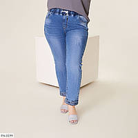 Джинси жіночі облягаючі прямі на резинці стрейч джинс великих розмірів батал 48-56 арт. 1041/1056