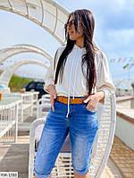 Бриджи джинсовые женские летние по колено больших размеров батал  р-ры 31-34 арт.ат6217