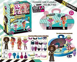 Ігровий набір лялька Bela Dolls BL1162 (36шт|2) валізу з меблями д| ляльок ,лялька 17,5 см+сюрпризи: од