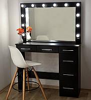 Макияжный стол под барный стул и гримерное зеркало с подсветкой черный 1200 мм