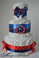 Торт из памперсов Морской 40 штук