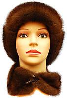 Женская шапка норковая  ушанка воротник цвет орех