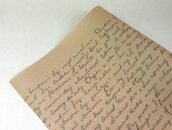 Бумага флористическая Письмо черное на крафте