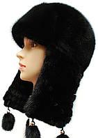 Зимняя шапка ушанка  плетенное ухо цвет черный
