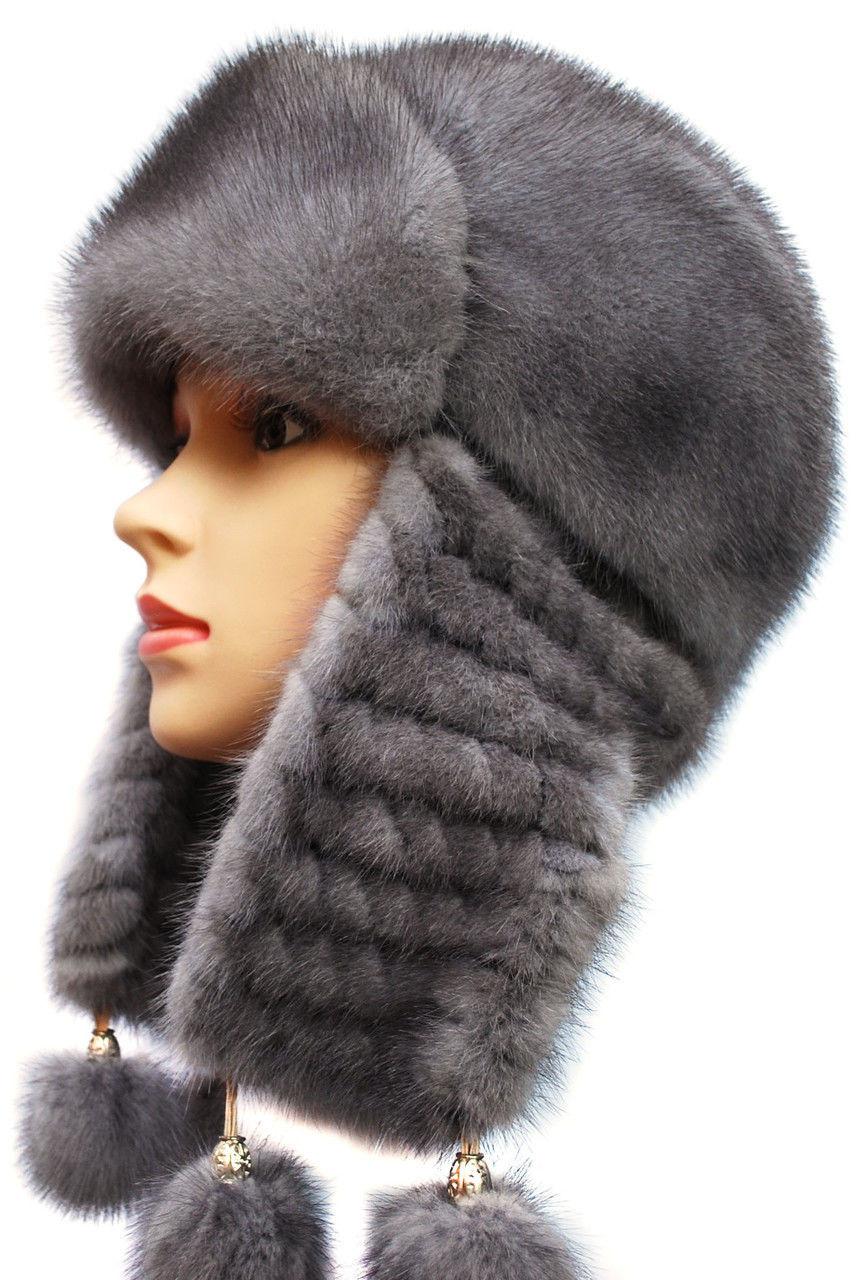 Зимняя шапка ушанка женская плетенное ухо  Цвет серый