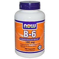 Витамин B-6, 100 мг, 250 капсул, Now Foods, B-6