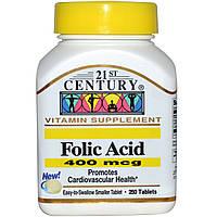 Фолиевая кислота, 400 мкг, 250 таблеток, 21st Century Health Care, Folic Acid