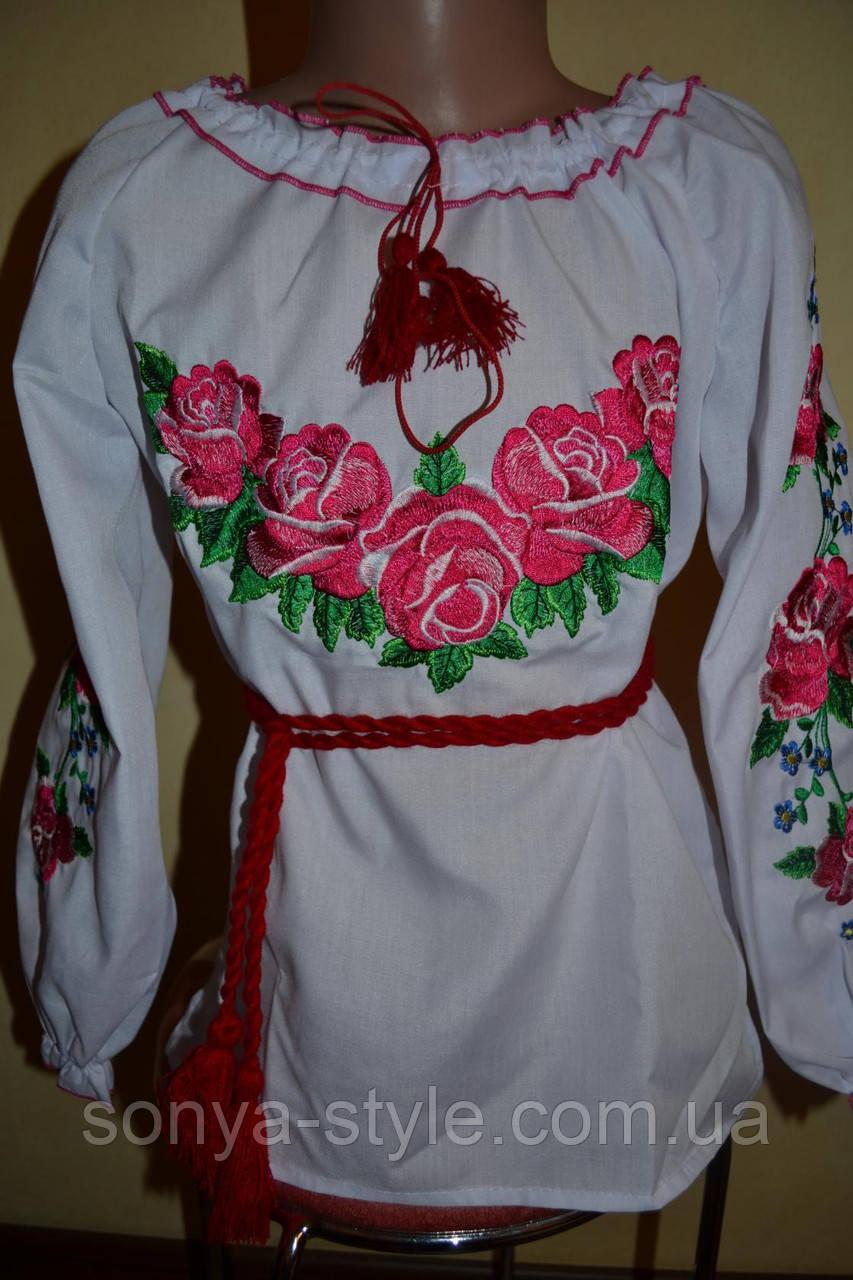 """Вышиванка на девочку """" Розовые розы """""""