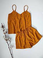 Муслиновая пижама горчичного цвета в веточки