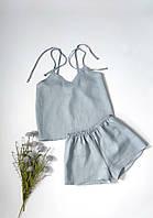 Льняная пижама женская серо-голубая 100% лён