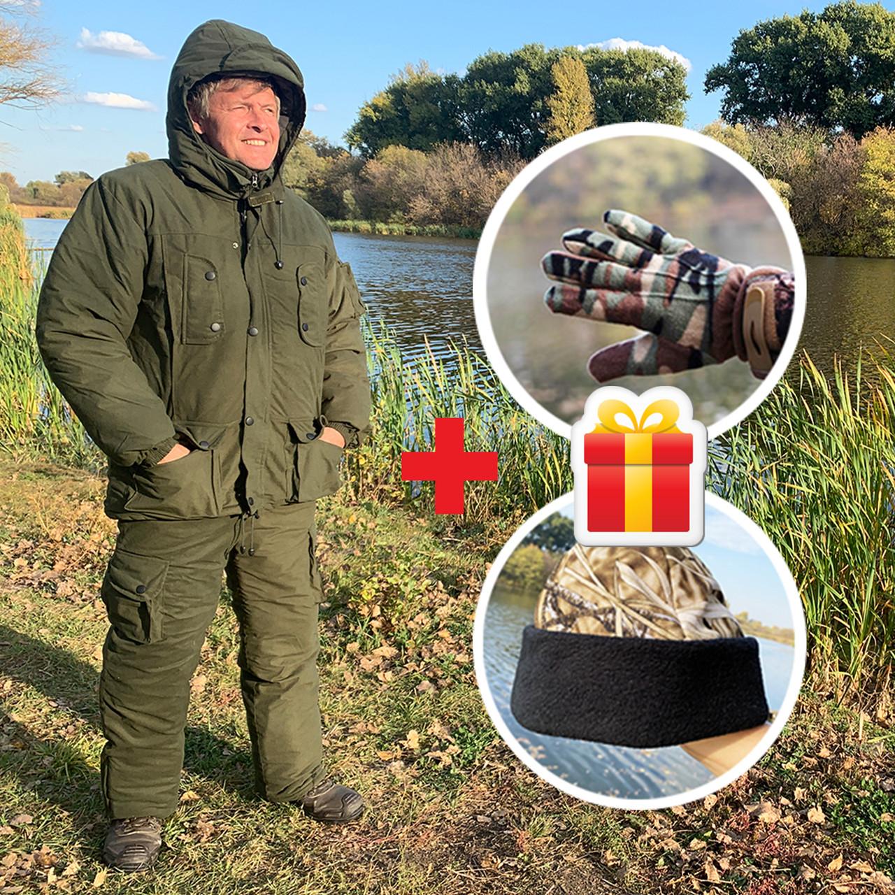 """Зимовий костюм до -40° """"Mavens Тайга"""" Олива, для риболовлі, полювання, роботи в холоді, розмір 48-50 (031-0027)"""