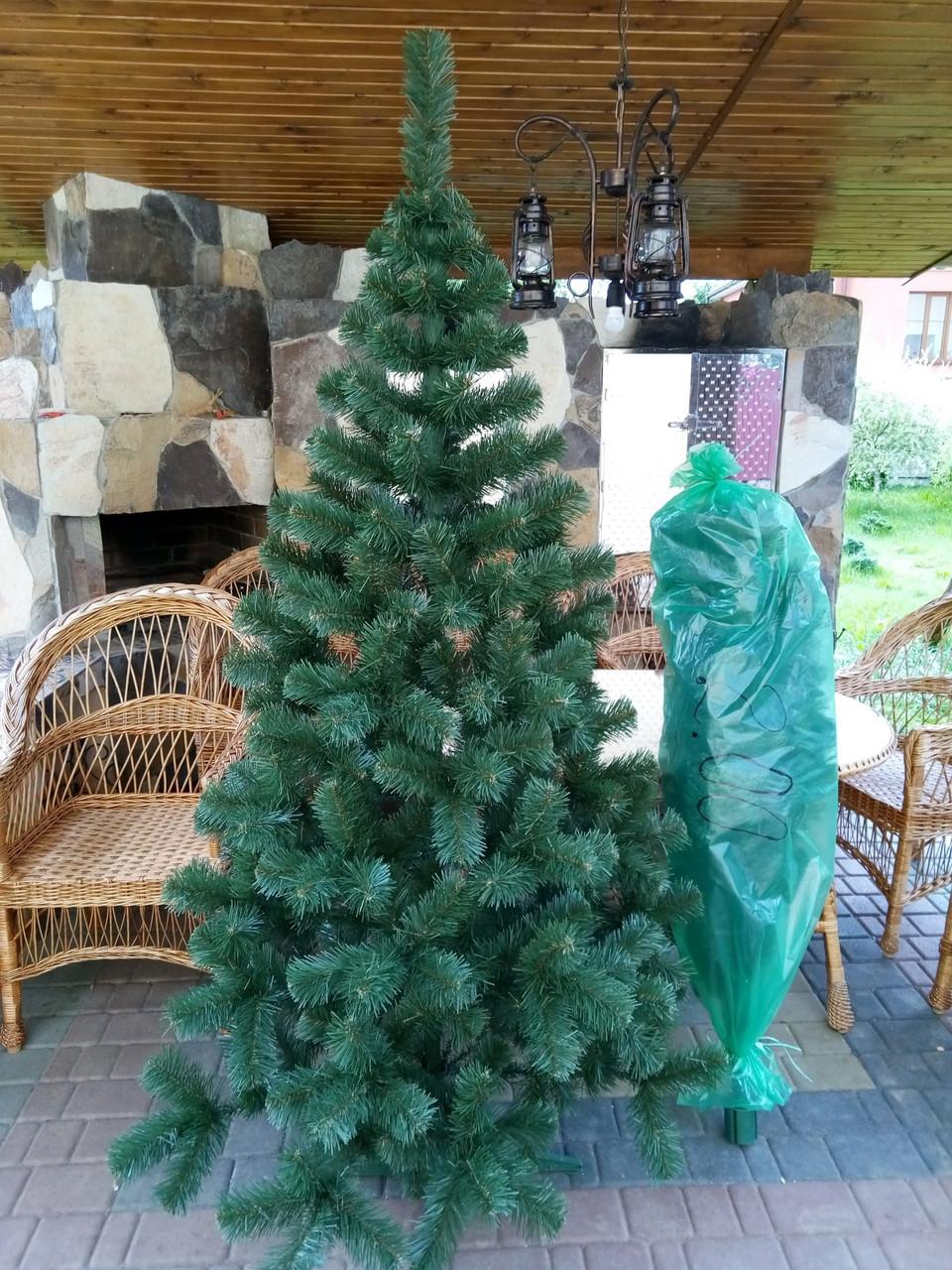 """Ялинка, ялинка штучна зелена """"Карпатська"""", на Новий рік, з підставкою, 220 см 031-0068"""