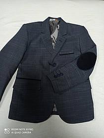 Пиджак модный школьный серого цвета для мальчика. Размеры 116.122.128.134 рост.