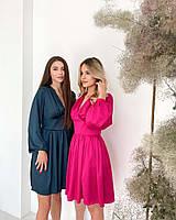Стильне шовкове плаття з пишними рукавами