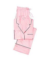 Сатиновая Пижама Victoria's Secret The Satin PJ Set, Розовая в полоску L