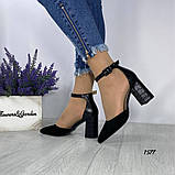 Женские туфли черные на невысоком устойчивом каблуке с ремешком на щиколотке, фото 2