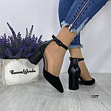 Женские туфли черные на невысоком устойчивом каблуке с ремешком на щиколотке, фото 5