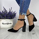 Женские туфли черные на невысоком устойчивом каблуке с ремешком на щиколотке, фото 6