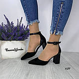 Женские туфли черные на невысоком устойчивом каблуке с ремешком на щиколотке, фото 4