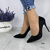 Жіночі туфлі човники замшеві чорні, фото 5