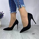 Жіночі туфлі човники замшеві чорні, фото 2