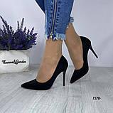Жіночі туфлі човники замшеві чорні, фото 3