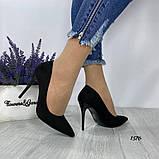 Жіночі туфлі човники замшеві чорні, фото 4