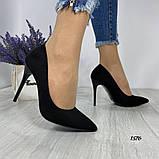 Жіночі туфлі човники замшеві чорні, фото 6